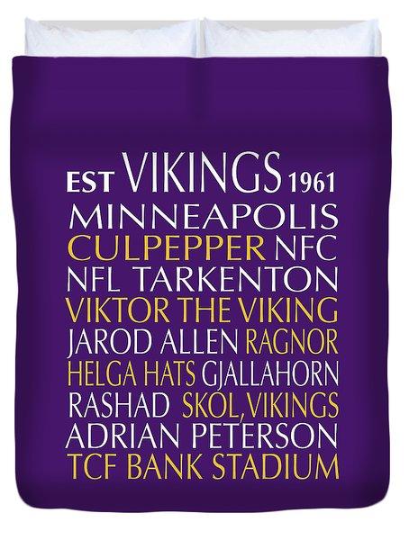 Minnesota Vikings Duvet Cover by Jaime Friedman