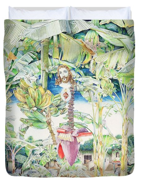 Miraculous Vision Of Christ In The Banana Grove, 1989 Oil On Canvas Duvet Cover