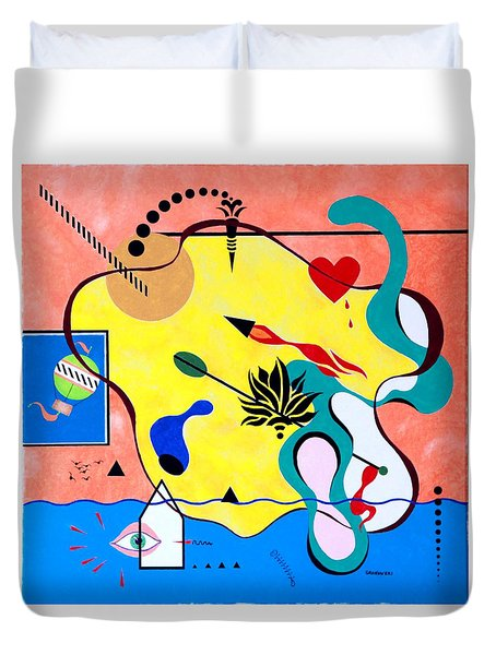 Miro Miro On The Wall Duvet Cover by Thomas Gronowski