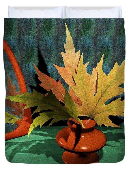 Mirror And Leaves Duvet Cover by Anastasiya Malakhova