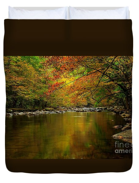 Duvet Cover featuring the photograph Mirror Fall Stream In The Mountains by Debbie Green