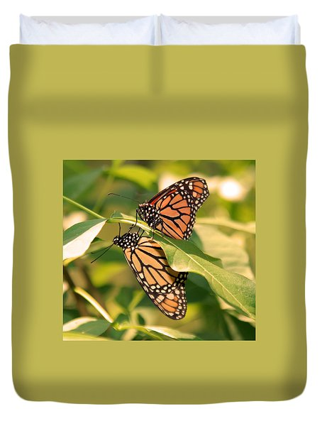 Duvet Cover featuring the photograph Mirror Image by Karen Silvestri