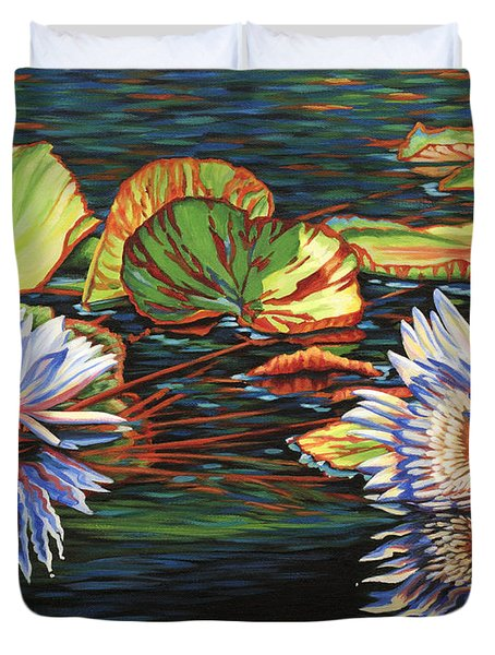 Duvet Cover featuring the painting Mirrored Lilies by Jane Girardot