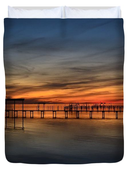 Duvet Cover featuring the photograph Mirrored Sunset Colors On Santa Rosa Sound by Jeff at JSJ Photography