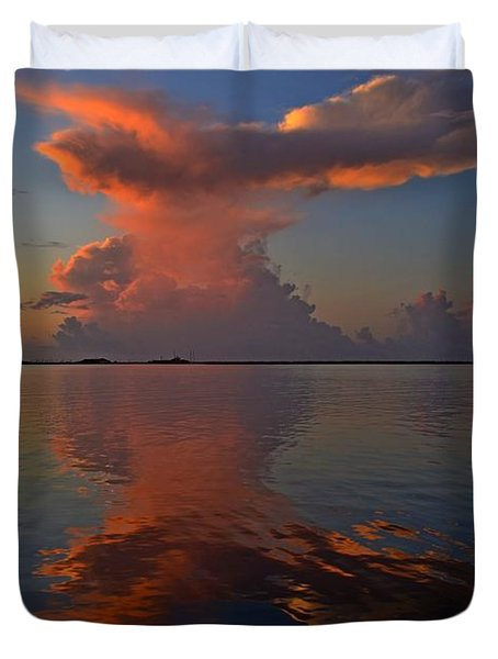 Mirrored Thunderstorm Over Navarre Beach At Sunrise On Sound Duvet Cover