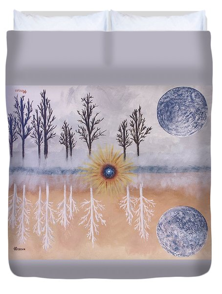 Mirrored Worlds  Duvet Cover by Cynthia Morgan
