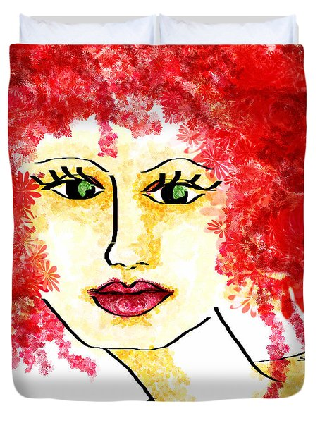 Duvet Cover featuring the digital art Miss Blossom  by Sladjana Lazarevic