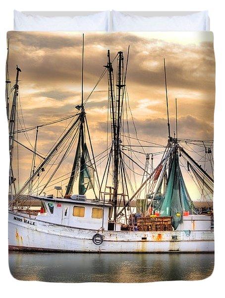 Miss Hale Shrimp Boat Duvet Cover