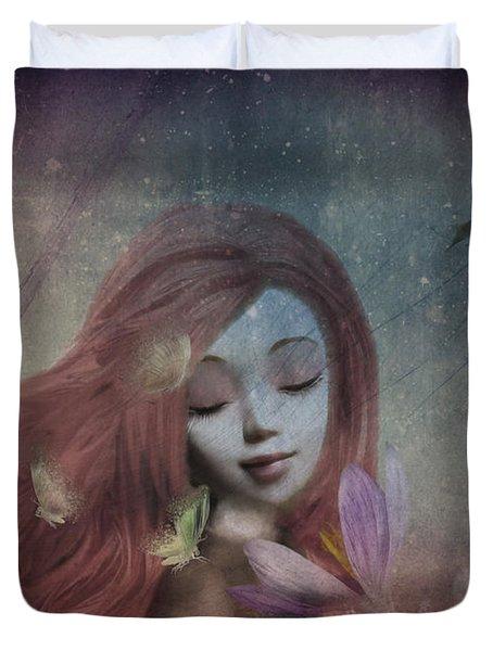 Duvet Cover featuring the digital art Miss Little Crocus by Barbara Orenya