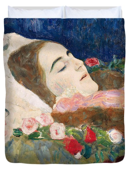 Miss Ria Munk On Her Deathbed Duvet Cover by Gustav Klimt