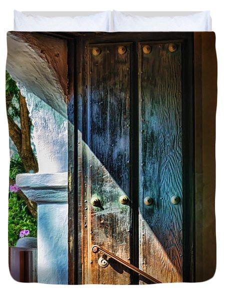 Mission Door Duvet Cover by Joan Carroll