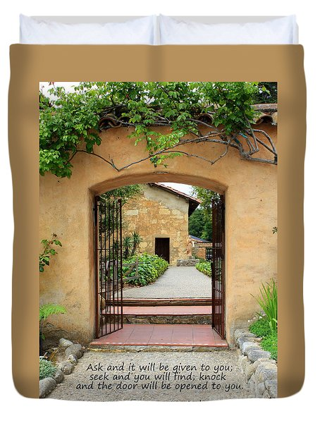 Mission Door With Scripture Duvet Cover by Carol Groenen