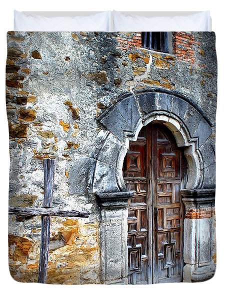 Mission Espada - Doorway Duvet Cover by Beth Vincent