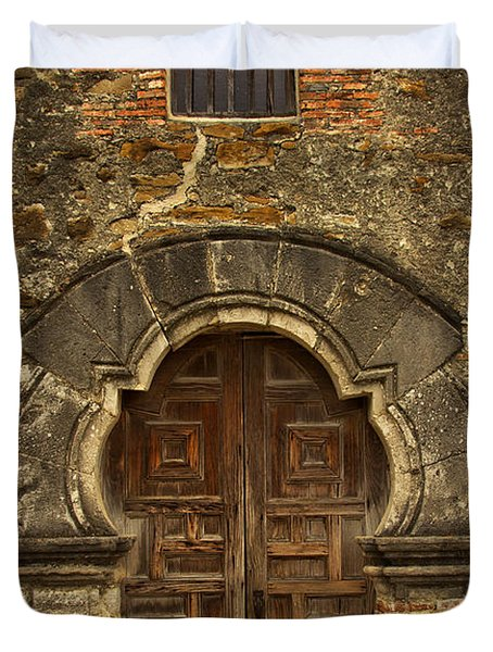 Duvet Cover featuring the photograph Mission Espada Doorway by Jemmy Archer