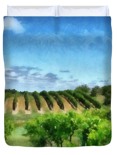 Mission Peninsula Vineyard Ll Duvet Cover by Michelle Calkins