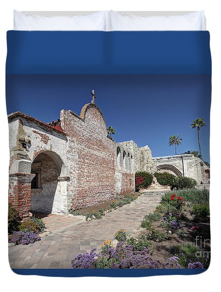 Duvet Cover featuring the photograph Mission Plaza Capistrano by Martin Konopacki