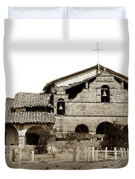 Mission San Antonio De Padua California Circa 1885 Duvet Cover by California Views Mr Pat Hathaway Archives
