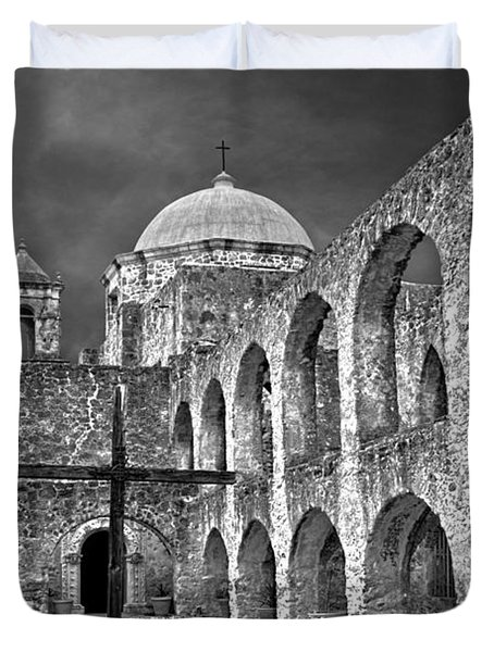 Mission San Jose Arches Bw Duvet Cover