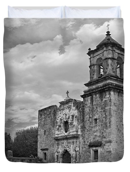Mission San Jose Bw Duvet Cover