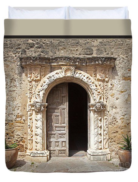 Mission San Jose Chapel Entry Doorway Duvet Cover