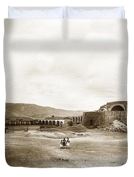 Mission San Juan Capistrano California Circa 1882 By C. E. Watkins Duvet Cover by California Views Mr Pat Hathaway Archives
