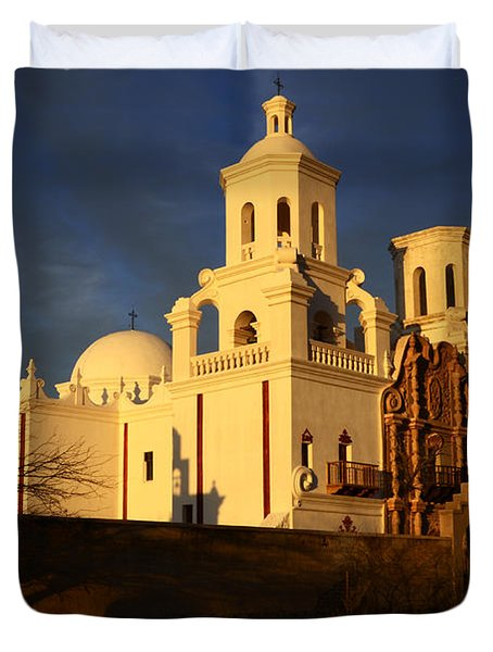 Mission San Xavier Del Bac Last Light Duvet Cover by Bob Christopher