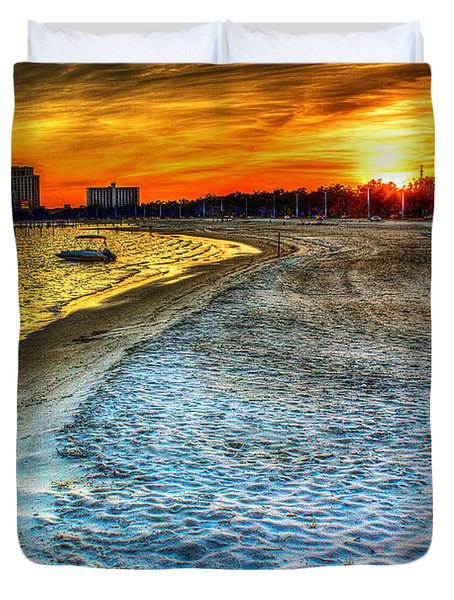 Beach - Coastal - Sunset - Mississippi Gold Duvet Cover