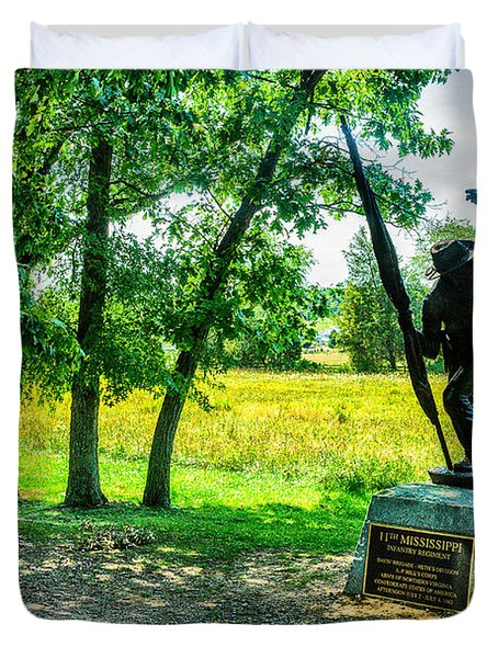 Mississippi Memorial Gettysburg Battleground Duvet Cover by Bob and Nadine Johnston
