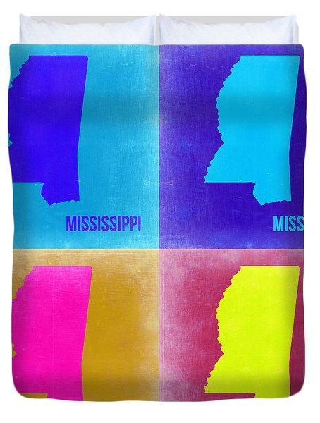 Mississippi Pop Art Map 2 Duvet Cover by Naxart Studio