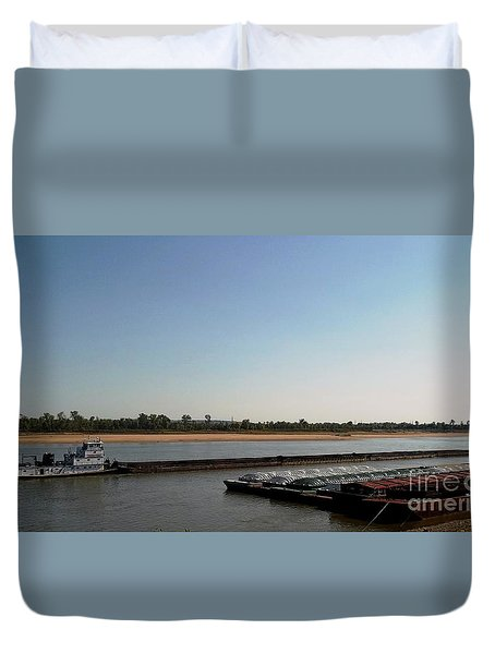 Mississippi River Barge Duvet Cover by Kelly Awad