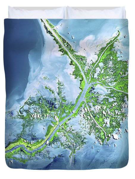 Mississippi River Delta Duvet Cover by Adam Romanowicz