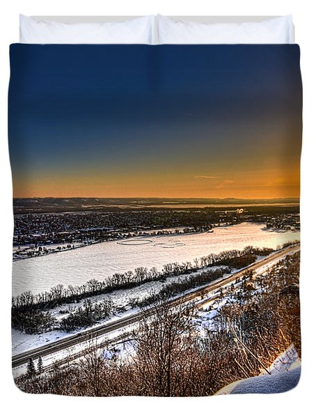 Mississippi River Sunrise Duvet Cover
