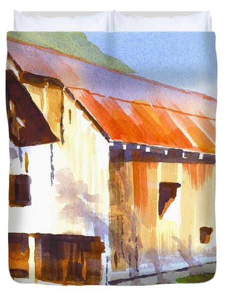 Missouri Barn In Watercolor Duvet Cover
