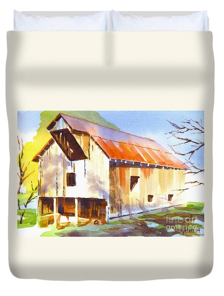 Missouri Barn In Watercolor Duvet Cover