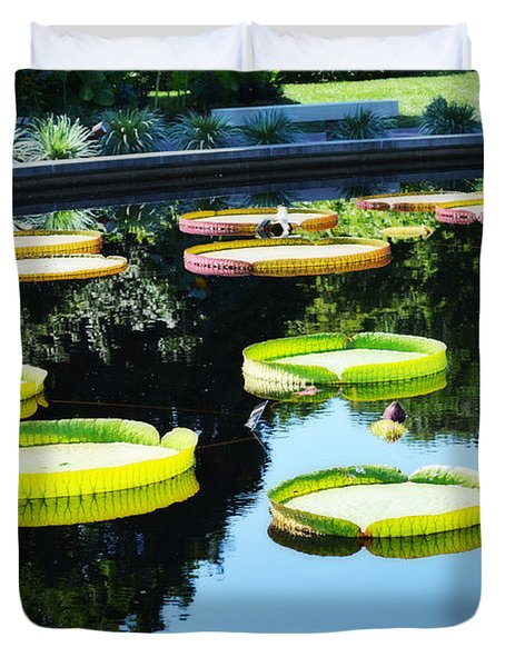 Missouri Botanical Garden Giant Lily Pads Duvet Cover by Luther Fine Art