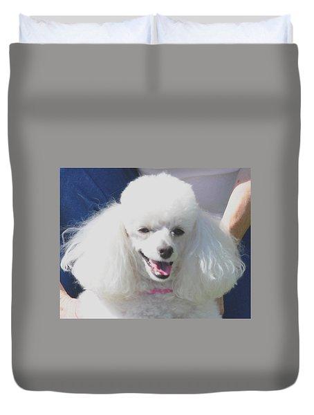 Missy White Poodle Duvet Cover