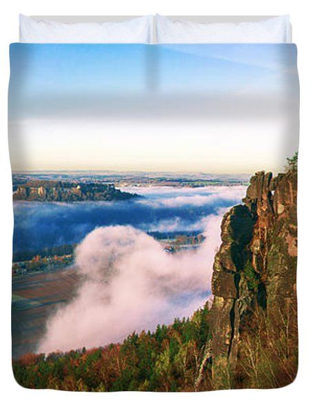 Mist Flow Around The Fortress Koenigstein Duvet Cover