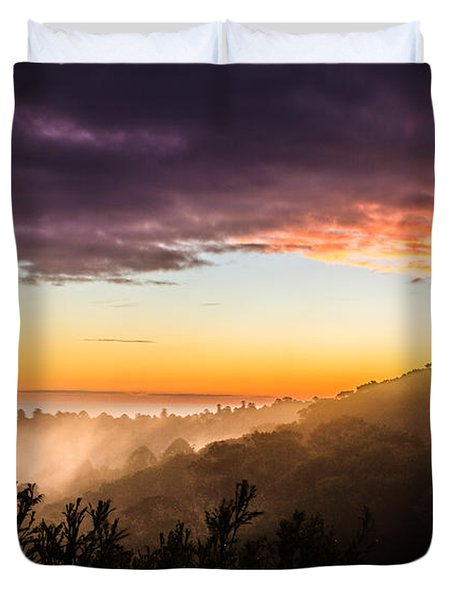 Mist Rising At Dusk Duvet Cover