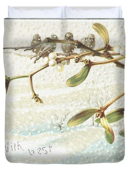 Mistletoe In The Snow Duvet Cover by English School