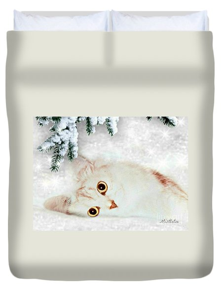 Duvet Cover featuring the mixed media Mistletoe In The Snow by Morag Bates