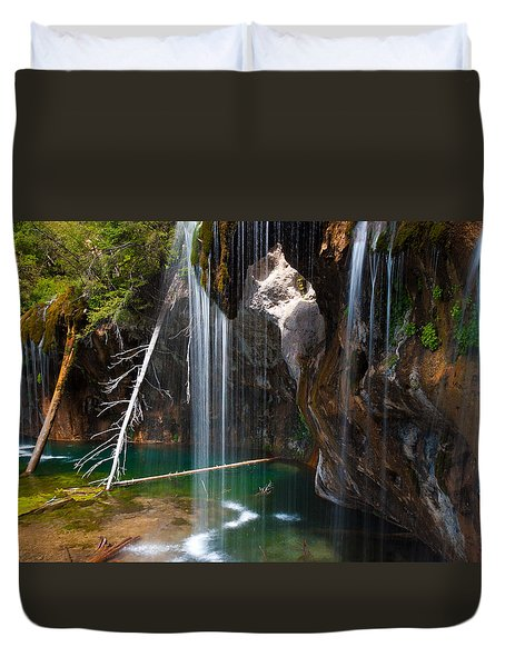 Misty Falls At Hanging Lake Duvet Cover by John Hoffman