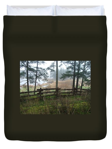 Duvet Cover featuring the photograph Misty Flats by Cheryl Hoyle