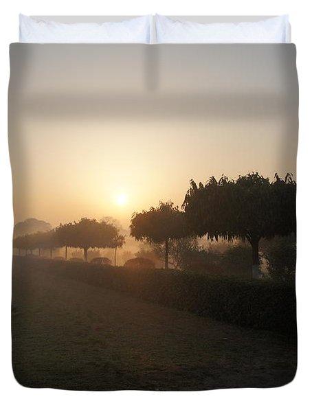 Misty Garden In The Morning Light Duvet Cover