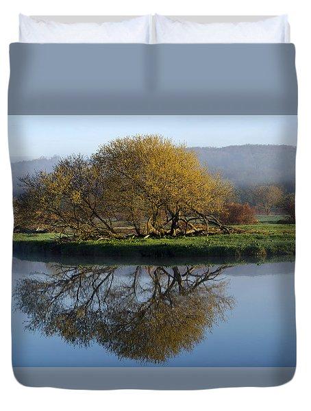 Misty Golden Sunrise Reflection Duvet Cover by Christina Rollo