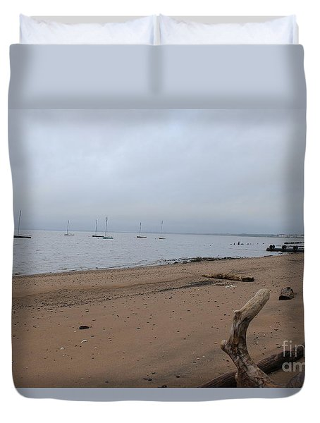 Duvet Cover featuring the photograph Misty Harbor by David Jackson