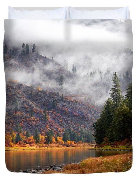 Misty Montana Morning Duvet Cover
