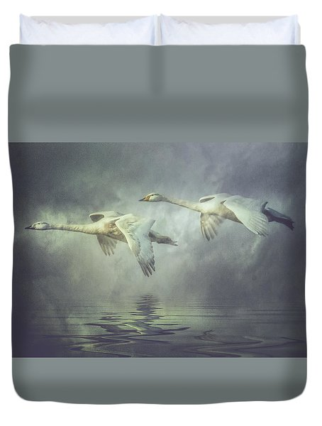 Misty Moon Shadows Duvet Cover by Brian Tarr