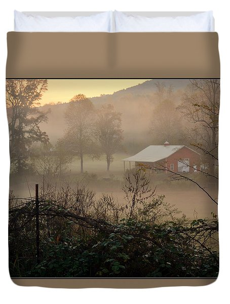 Misty Morn And Horse Duvet Cover