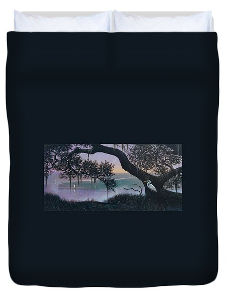 Misty Morning At Seabrook Duvet Cover by Blue Sky