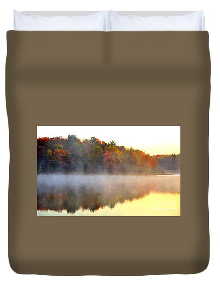 Misty Morning At Stoneledge Lake Duvet Cover by Terri Gostola